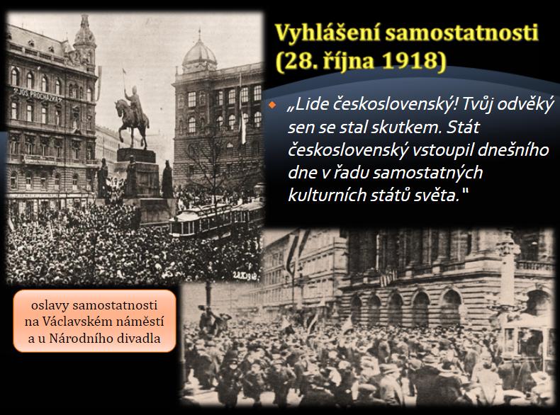 Vznik Československé republiky v 1918